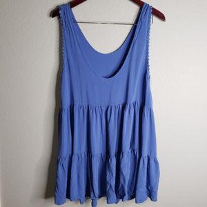 Anthropologie | Mavenie Blue flowy mini dress
